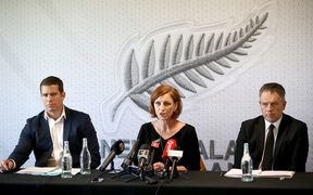 (From left) NZ Football interim chief executive Andrew Pragnell, independent reviewer Pip Muir and NZ Football president Deryck Shaw reveal findings as a result of the independent review into the conduct and culture of the governing body.