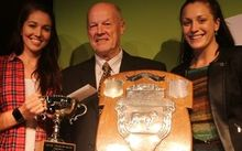 Steak of Origin champion, Colin Brown is  flanked by two of the judges medal winners Sarah Walker and Sophie Pascoe.