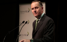 John Key giving a pre-budget speech in Wellington.
