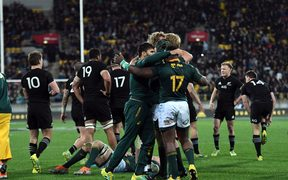 South Africa celebrate their win over the All Blacks 2018.