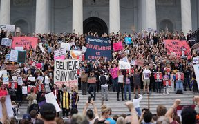 Protesters against US Supreme Court nominee Brett Kavanaugh demonstrate at the US Supreme Court in Washington, DC