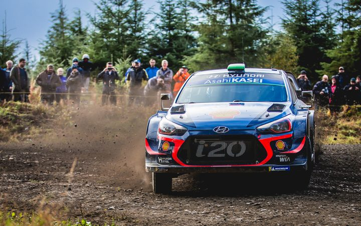NZ rally driver Hayden Paddon racing in Wales