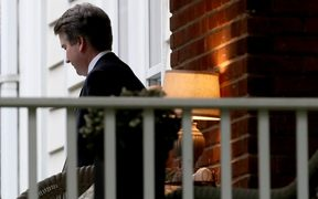 Supreme Court nominee Brett Kavanaugh leaves his home after being confirmed by the US Senate