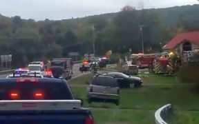 The scene of a limousine crash that has claimed 20 lives in the New York town of  town of Schoharie.