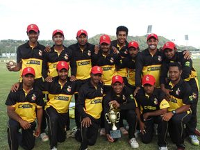 Papua New Guinea celebrate their triumph in the T20 tri-series.