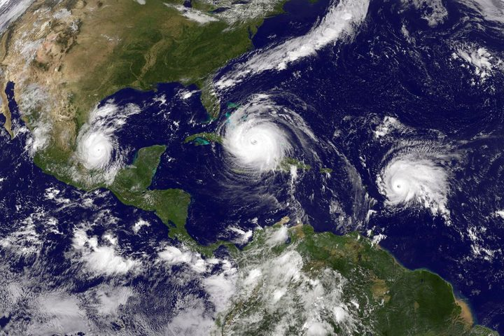 This satellite image shows three storms in the Atlantic: Hurricane Irma, Tropical Storm Jose, and Tropical Storm Katia, on September 8th.