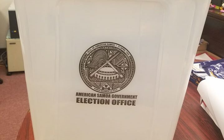 one of the new ballot boxes for the American Samoan election.