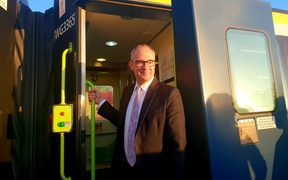 Transport Minister Phil Twyford  at the announcement of the government's $94m investment in the Wairarapa rail network.