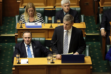 Bill English delivering his budget to Parliament.
