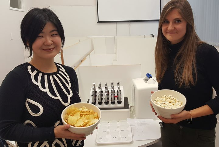 Mei Peng and PhD student Rachel Ginieis with some of the tests and foods they are using in their 'sensory fingerprint' study.