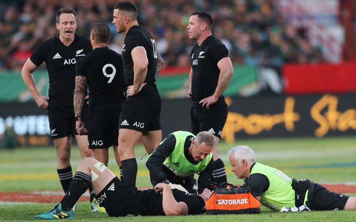 Sam Cane of New Zealand injured during the 2018 Rugby Championship match between South Africa and New Zealand at Loftus Stadium, 2018
