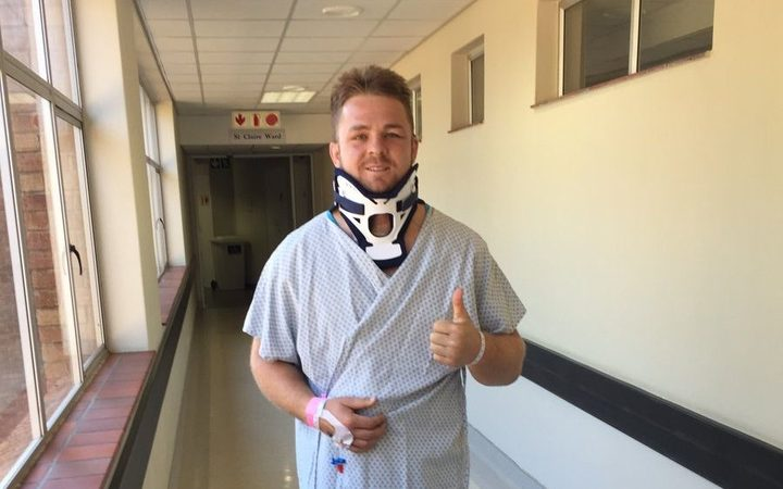 Sam Cane after neck operation 2018.