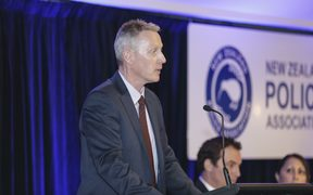 Police conference in Wellington. Chris Cahill, NZ Police Association.