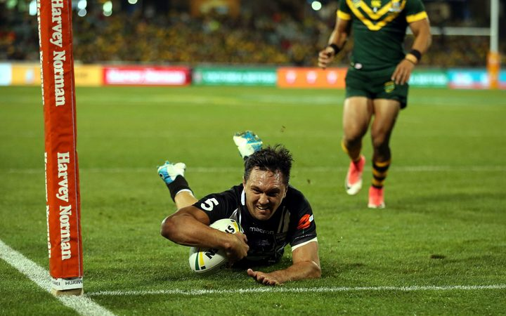 Kiwis Winger Jordan Rapana scoring try for New Zealand against Australia