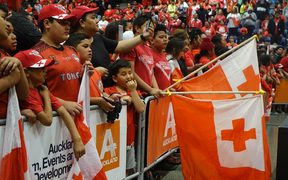 Fans packed out the Manukau Vodafone Events Centre to welcome Tonga's National Rugby League team 'Mate Ma'a Tonga' to New Zealand.