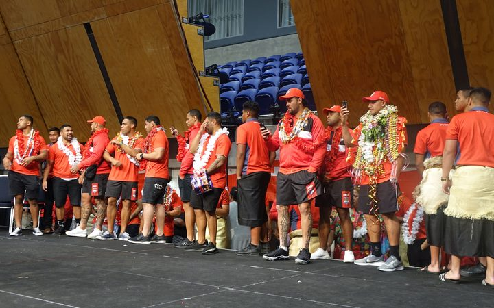 Tonga's National Rugby League team 'Mate Ma'a Tonga' on stage at the Manukau Vodafone Events Centre where fans welcomed them to New Zealand.