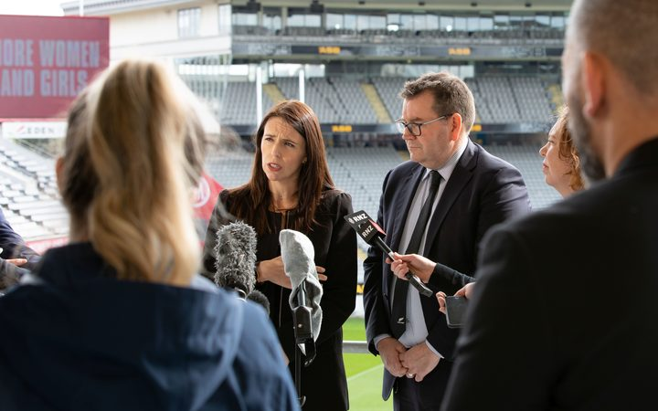 Prime Minister Jacinda Ardern and Sport and Recreation Minister Grant Robertson at the launch of a new strategy that champions equaility for NZ women and girls in sport and active recreation.