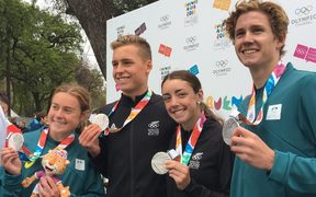New Zealand-Australia Youth Olympics triathlon team.