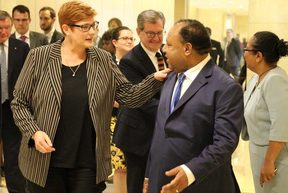 Australia's Foreign Minister Marise Payne meets her PNG counterpart Rimbink Pato in Port Moresby.