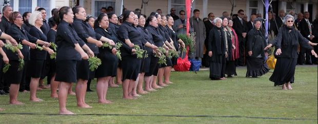 A powhiri to welcome guests for the annual Ratana celebrations in 2014