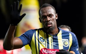 Usain Bolt playing for the Central Coast Mariners.