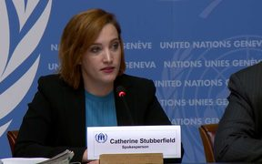 The UNHCR's Catherine Stubberfield addresses a media conference in Geneva.