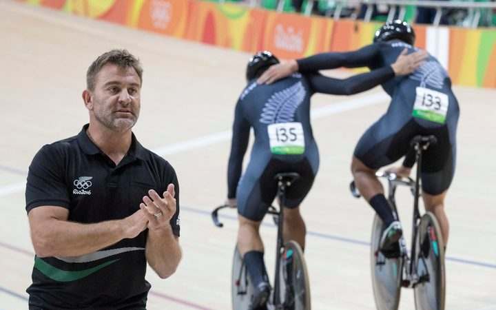 Anthony Peden applauds the silver medal efforts of the New Zealand men's sprint team at the Rio Olympics.