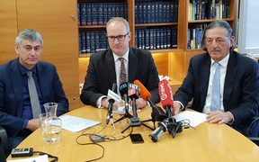 NZTA chief executive Fergus Gammie, Transport Minister Phil Twyford and NZTA board chair Michael Stiassny at the announcement on a review of  vehicle certifications.