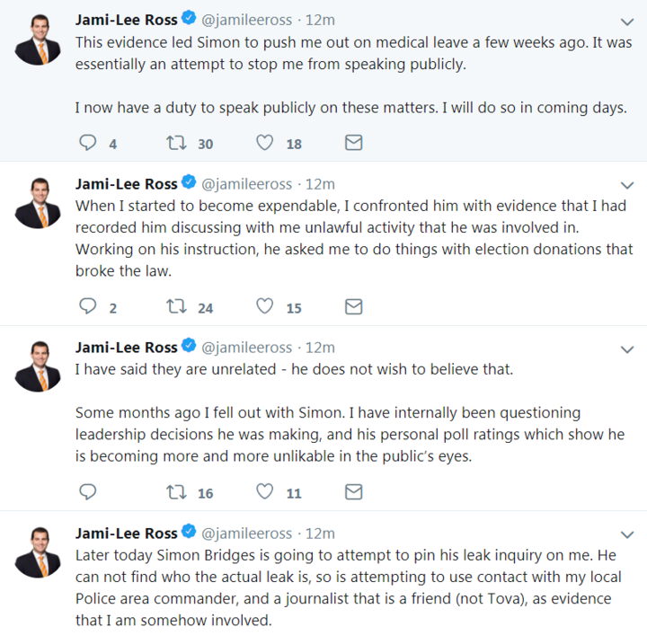 National MP Jami-Lee Ross denied the claims on Twitter