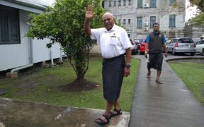 Fijian politician Sitiveni Rabuka arrives at court in Suva, Fiji, 15 Oct 2018