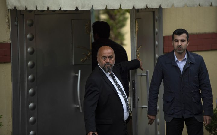 Saudi officials arrive at the at the Saudi consulate in Istanbul for an investigation into the disappearance of journalist Jamal Khashoggi.