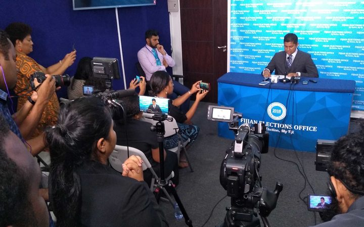 Fiji Elections Supervisor Mohammed Saneem announces candidates for 2018 election