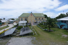 A view of the church in Nukunonu, Tokelau