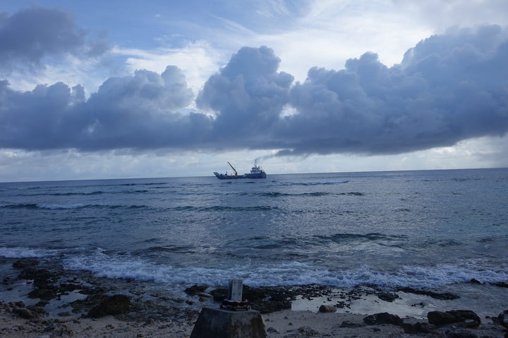 Cargo ship near Nukunonu, Tokelau
