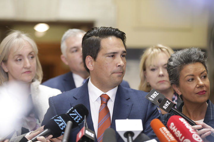 Simon Bridges speaks to the media after National's caucus meeting. Photo / Rebekah Parsons-King