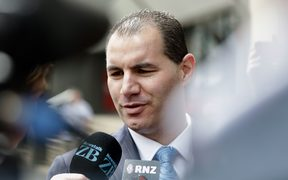 Jami-Lee Ross outside the Victoria Street police station in Wellington.