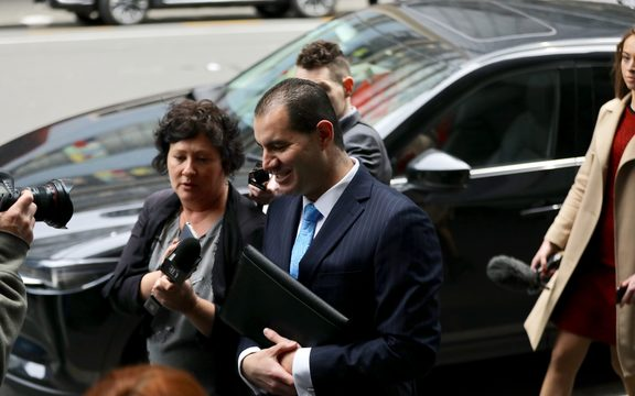 Jami-Lee Ross heads into the Wellington police station to make his complaint.