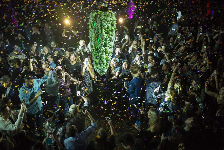 "Torontonians gather at a local concert venue to watch the ""bud drop"" at the stroke of midnight, in celebration of the legalization of recreational cannabis."