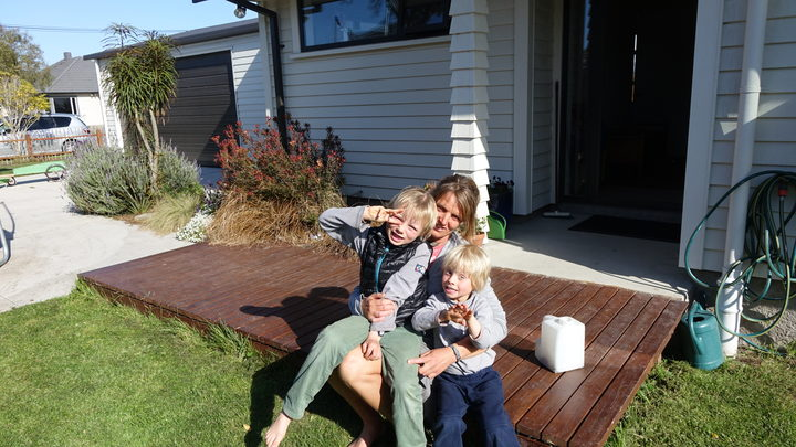 Andrea Webster and her two sons, Julian (6) and Anton (3)