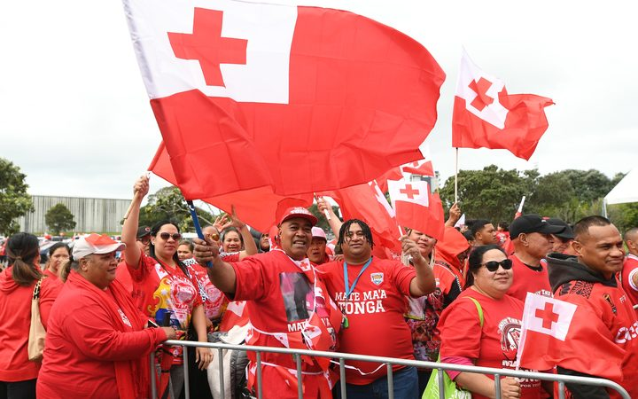 Tonga rugby league fans at Mt Smart Stadium at training on Wednesday.