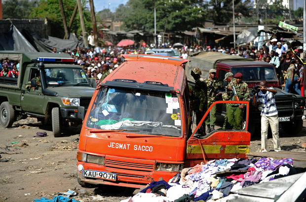 The scene of the explosion in Gikomba on the outskirts of Nairobi's business district.