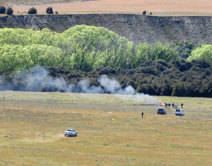 The scene of the fatal helicopter crash near Wanaka airport.