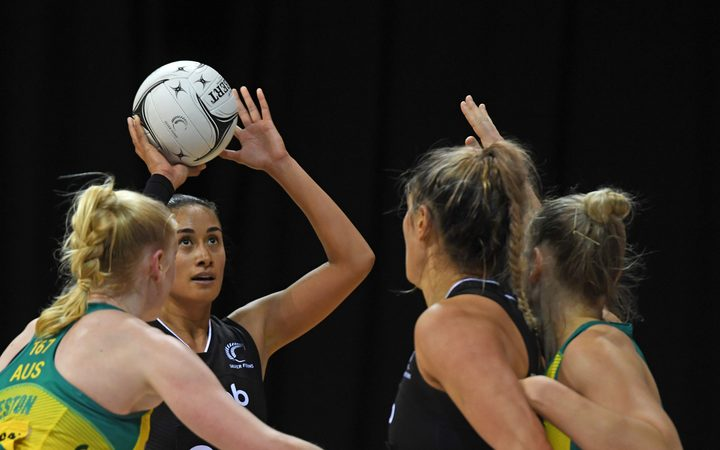 Silver Ferns shooter Maria Folau shooting  for goal.