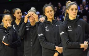 A dejected Silver Ferns side in the wake of their fourth test loss to Australia in the Constellation Cup.