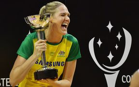 Caitlin Bassett celebrates the Diamonds sixth straight Constellation Cup series win.
