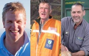 The three men who died in the helicopter crash near Wanaka Airport (from left) Nick Wallis, Paul Hondelink and Scott Theobold.