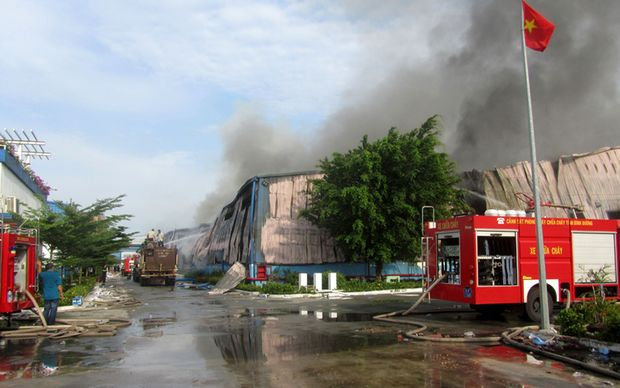 Factories including a furniture plant in Binh Duong have been set alight by protesters.