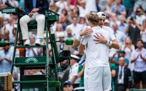 Kevin Anderson and John Isner after longest match at Wimbledon.
