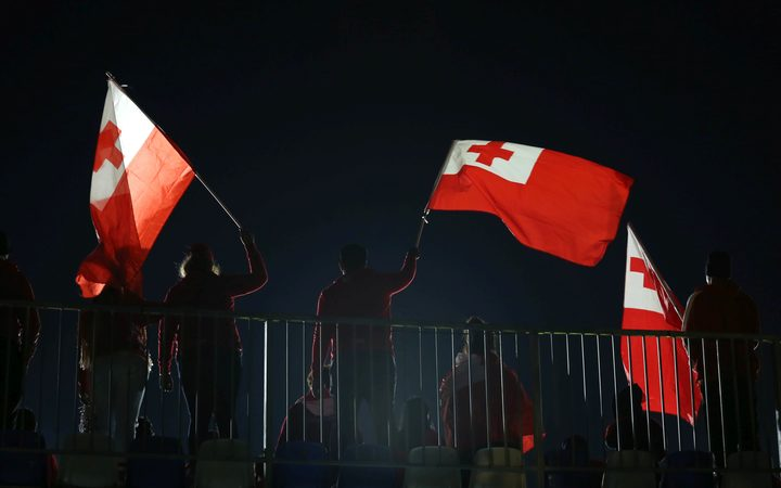 Tongan fans celebrate a try, Tonga v Australia. International Rugby League test match.