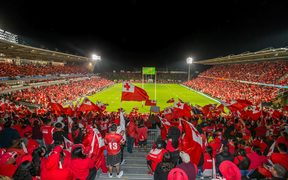 Tongan fans celebrate a try against Australia.